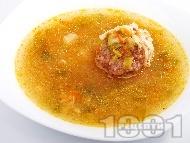 Супа с телешки топчета и палачинка